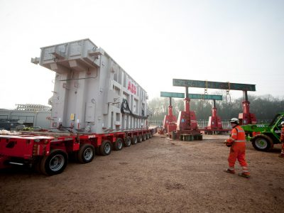 Arrival of one of the transformers at the onshore substation